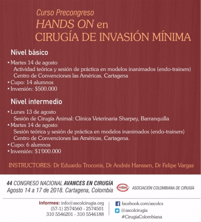 Curso Precongreso HANDS ON en CIRUGIA DE INVASIÓN MÍNIMA